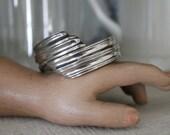 Vintage Modern Silver Toned Clamper Cuff Bracelet