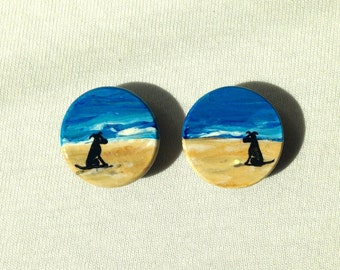 DOGS on BEACH magnets hand painted black labs
