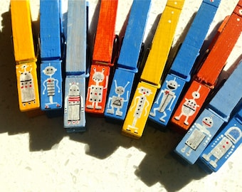 ROBOT CLOTHESPINS painted magnetic peg boy party favor blue orange yellow