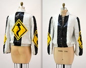 Vintage Sequin Jacket Black and White with Street Signs // Vintage Black and White Sequin Jacket with Yellow Arrow Pop Art By Modi
