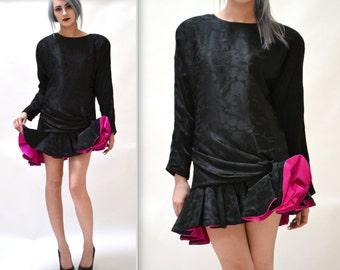 Vintage 80s Prom Dress Black Silk Size Small Medium// 80s Black Party Dress Size Small Black and Pink Silk