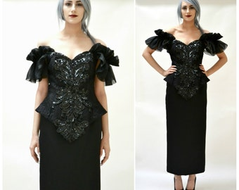 Black 80s Prom Dress Size Small Medium // Vintage Black Evening Gown black beaded sequin dress size small Medium Goth by Cache