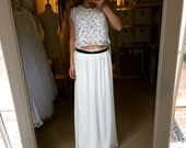 Laura-2 piece wedding set-Perfect ivory blush champagne lace chiffon Wedding Dress-made to order