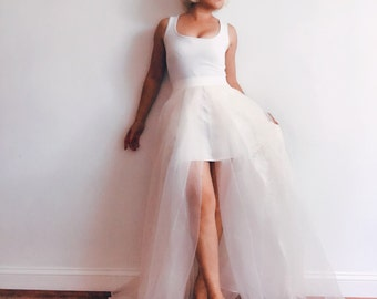 High slit lace organza wedding skirt-made to order in your size in blush, soft white or champagne