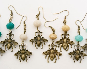 Bee Earrings, Queen Bee Jewelry, Variety of Colors