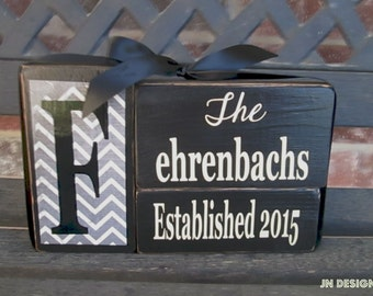 Personalized Established Name Family Block Set sign wood block set(chevron)