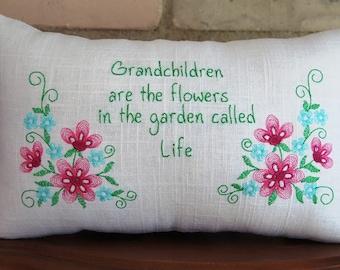 Embroidered Grandma Pillow