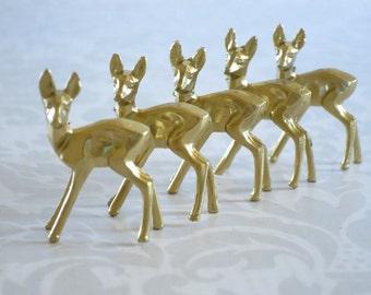 Glitter House Holiday Supplies, Gold Reindeer for Putz House Assemblage, Five Mini Gold Diorama Plastic Deer, Micro Miniature Reindeer Deer