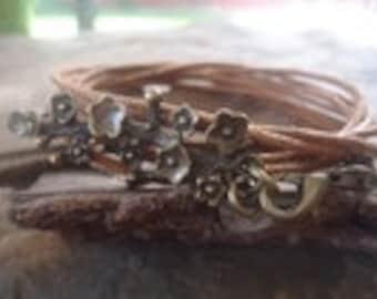 BRONZE BRANCH wrap bracelet with flowers branch (1317)