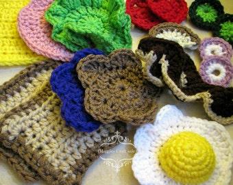 Crochet Sandwich, Ham Peanut butter Jelly, 18 Pieces, Picnic, food, fun play, pretend play, kitchen play, egg breakfast, ham cheese sandwich