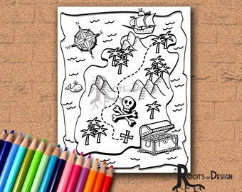 INSTANT DOWNLOAD Coloring Page - treasure Map art, printable