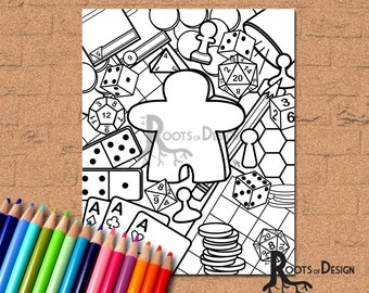 INSTANT DOWNLOAD Coloring Page - Tabletop Gaming Coloring Print, doodle art, gamer printable
