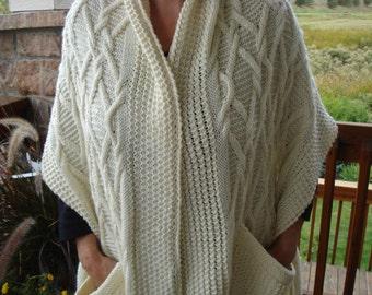 Knit Shawl Pattern:  Warm Emerald Isle Pocket Shawl