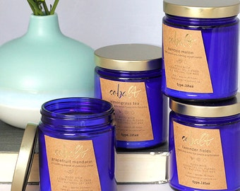 grapefruit mandarin wooden wick soy candle - cobalt by type.lites