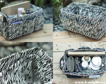 Purse ORGANIZER Insert, Bag Organizer, Extra Sturdy / Black and White Zebra / Medium 22x8cm