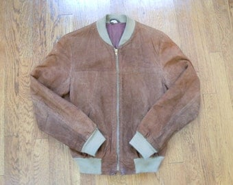 Vintage Suede Bomber S/M USA-Made 60s-70s