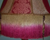 SALE! - Victorian Rayon & Beaded Fringe Magenta Lampshade Embroidered Lace Brocade
