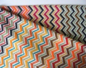 Gorgeous vintage coarse woven knit print fabric upholstery multi stripe zig zag chevron 2 plus yards multicolour