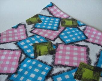 Fun vintage novelty fabric mod brushstroke gingham plaid check nursery baby blue pink green
