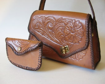 Matching tooled leather box bag with vintage change purse Mexico floral detail