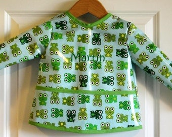 Toddler Baby Long Sleeved Art Smock Painting Smock with Frogs