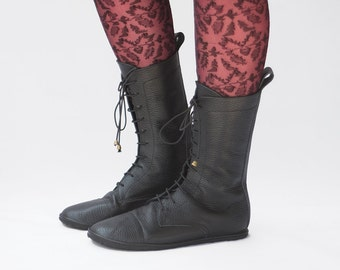 Lace up boots - Impulse in Pebbled Black - Handmade Leather Boots - CUSTOM FIT