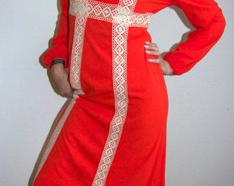 1970s Orange you Rapunzel Dress