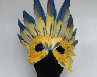 Amazon Sun Goddess Mask is Crowned by Blue Macaw Wings