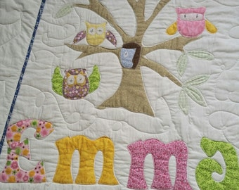 Personalized Quilt,  Baby Bedding, Owls, Crib Bedding, Baby Quilt, Toddler Bedding, Quilt, Boy or Girl