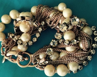 Jcrew J. crew bracelet sale!pearl bronze/Coppertone luxe! Champagne color crystals Goldtone vtg chains multi-strand marked/no flaws 80s