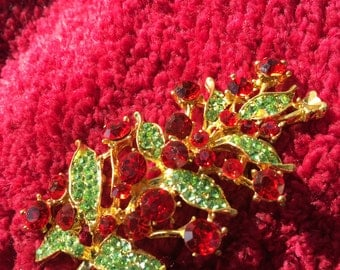 """Crystal PIn/brooch large, over 2 """" long/green and red no flaws, Sparkly rhinestones"""