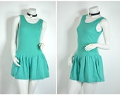 90s 80s mint green turquoise jade ribbed tank flouncy dropwaist romper