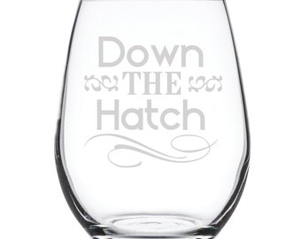 Stemless White Wine Glass-17 oz.-7828 Down the Hatch