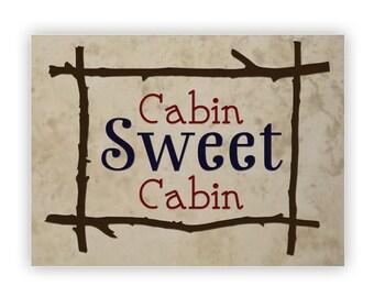 Engraved Stone Decorative 8.75x11.75in Medium Tile -14009 Cabin Sweet Cabin