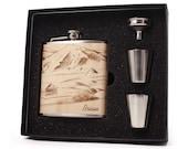 Outdoorsman flask, Mountains Themed Flask Gift Set, 6oz