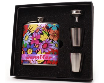 Personalized Flask Gift Set for Women // Colorful Flowers // Custom Flask