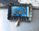 Irish Stamp Tin Brooch-Vintage Candy Mold