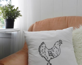 Chicken Pillow Cover Black and White 16 Inch. Chicken Decor. Hand Embroidered. Birds. Modern Farmhouse. Chickens. Roosters.