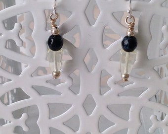 Black Verdigris Czech Glass and Clear Glass Earrings