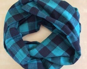 FLANNEL infinity scarf - green and black logger plaid