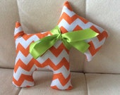 Stuffed Scotty Dog - orange and White Chevron with lime green ribbon