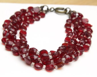 """Multi Strand Red Beaded Bracelet with Vintage Red Beads and Antique Gold Spring Ring 7.5"""""""