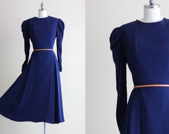 SALE - Navy Blue Vintage Dress . Long Sleeve Dress . Swing Skirt Dress