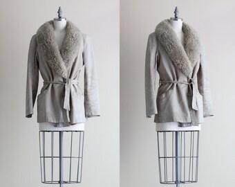 SALE - Faux Fur Collar Coat . Womens Belted Coat . Suede 1960s Coat