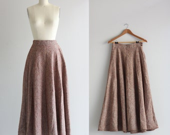 Full Maxi Skirt . Long Wool Skirt . 1940s 40s Skirt