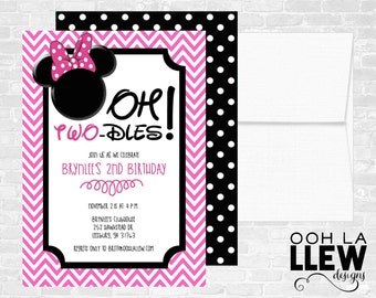 Minnie Mouse Oh Toodles 2nd Birthday Party Invitation