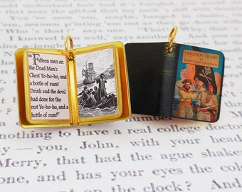 Treasure Island by Robert Louis Stevenson - Miniature Book Charm Quote Pendant - for charm bracelet or necklace. Custom available!