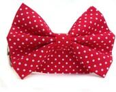 Polka Dot Dog Collar BowTie / Red White Polka Dot Dog Bow Tie / Dog Collar with Bow Tie / Boy Dog Collar / Red Dog Collar / Red White Collar