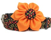 Black Floral Dog Collar and Flower / Dog Collar Flower / Orange Black Dog Flower / Adjustable Dog Collar / Girl Dog Collar
