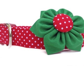 Christmas Dog Collar and Flower / Red White Polka Dot Collar /  Red Green Christmas Collar / Christmas Collar Flower / Girl Dog Christmas